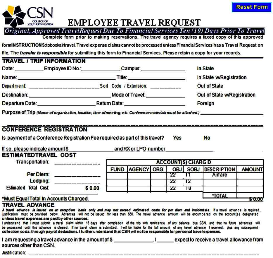Employee Travel Requisition Form