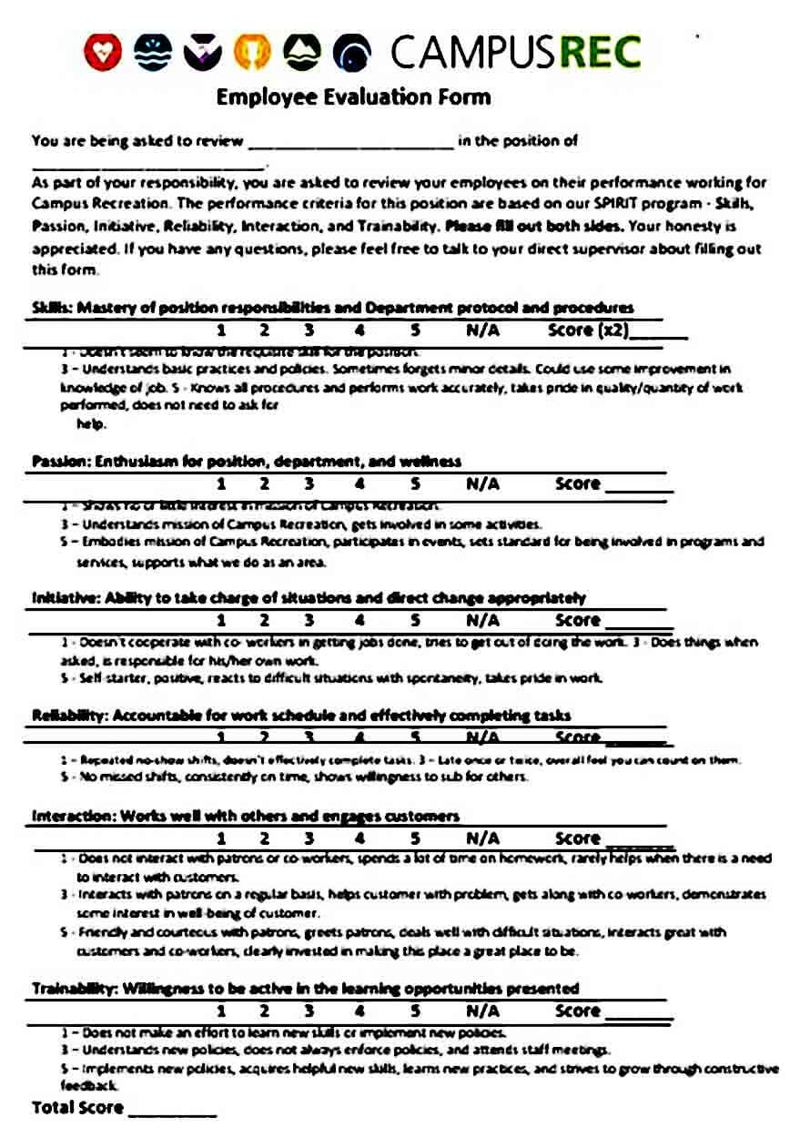 Employee Work Evaluation Form