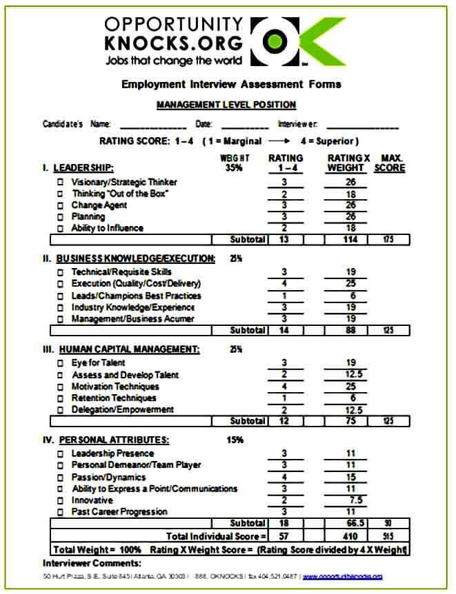 Employment Interview Assessment Form