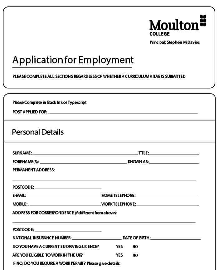 Employment Job Application Form