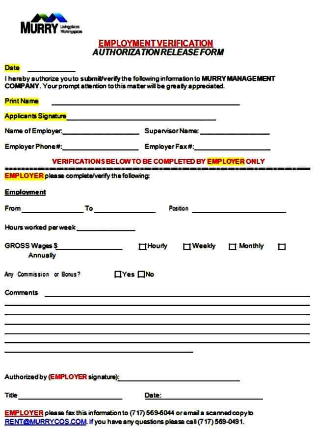 Employment Verification Authorization Release Form