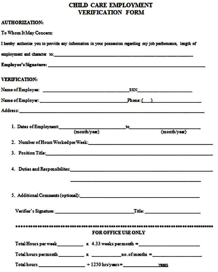 Employment Verification Form for Child Care