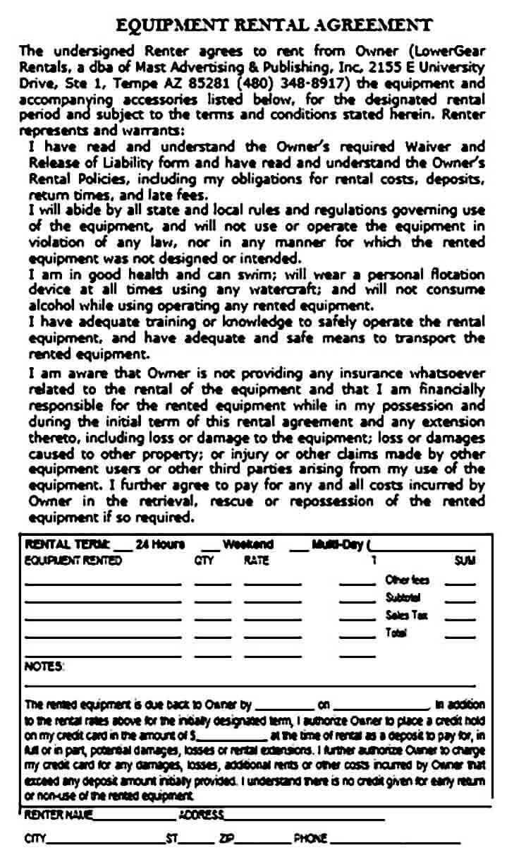 Equipment Rental Agreement