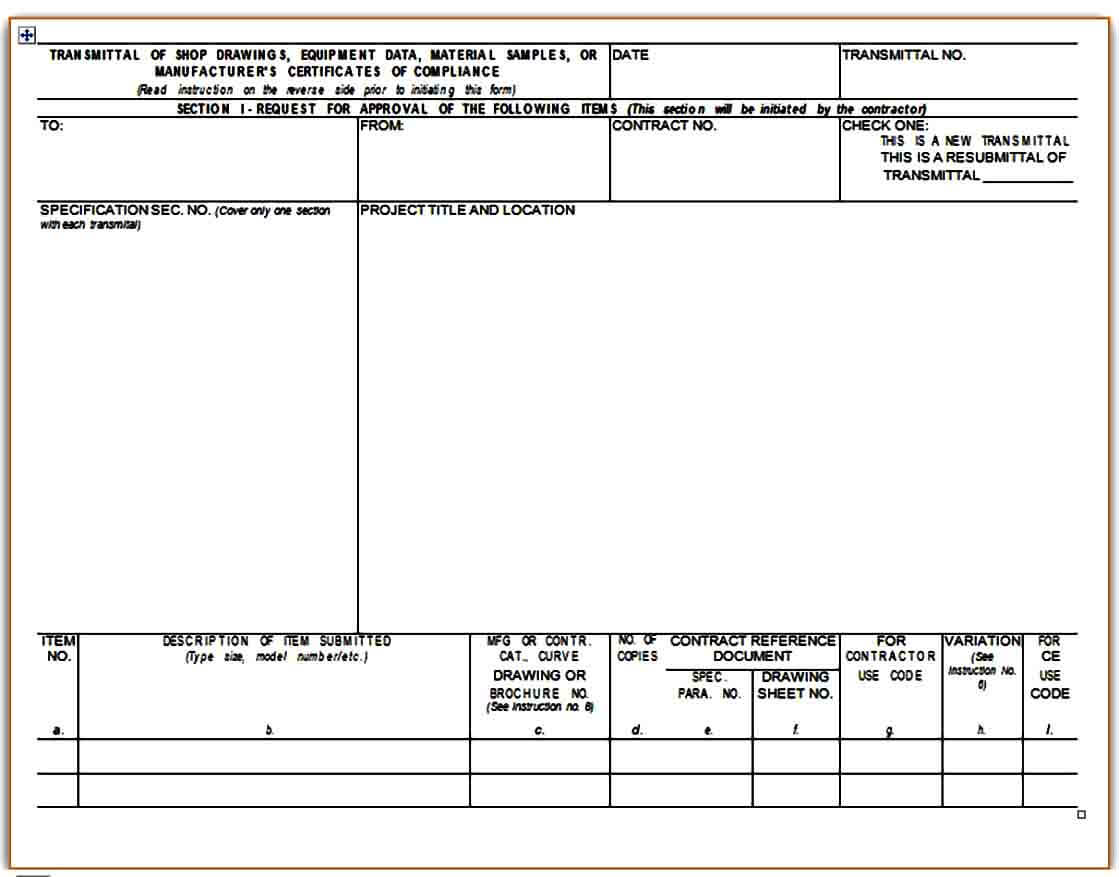 Equipment Submittal Transmittal Form