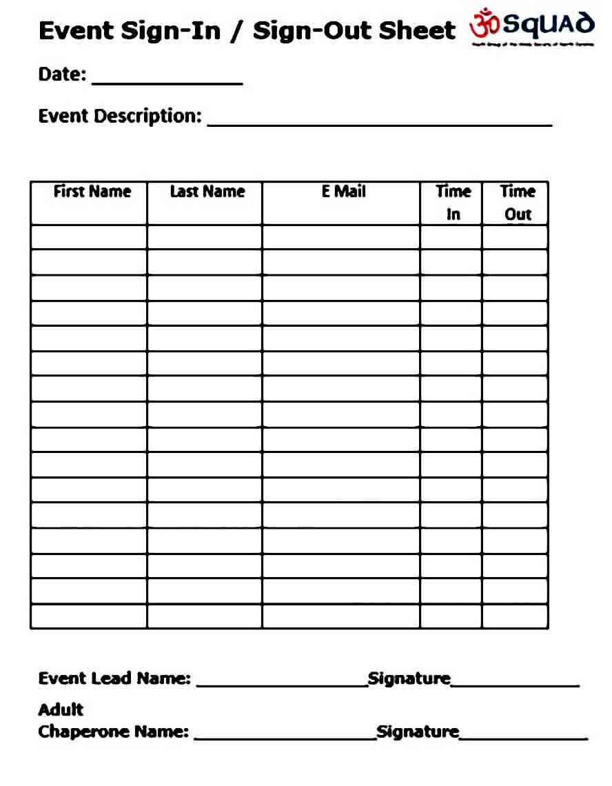 Event Signup Sheet