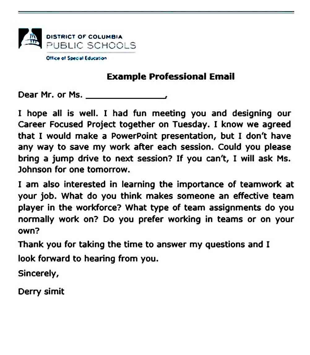 Example Professional Email templates