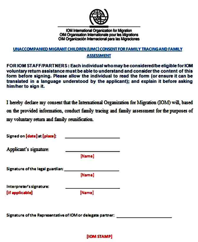 Family Assessment Consent Form