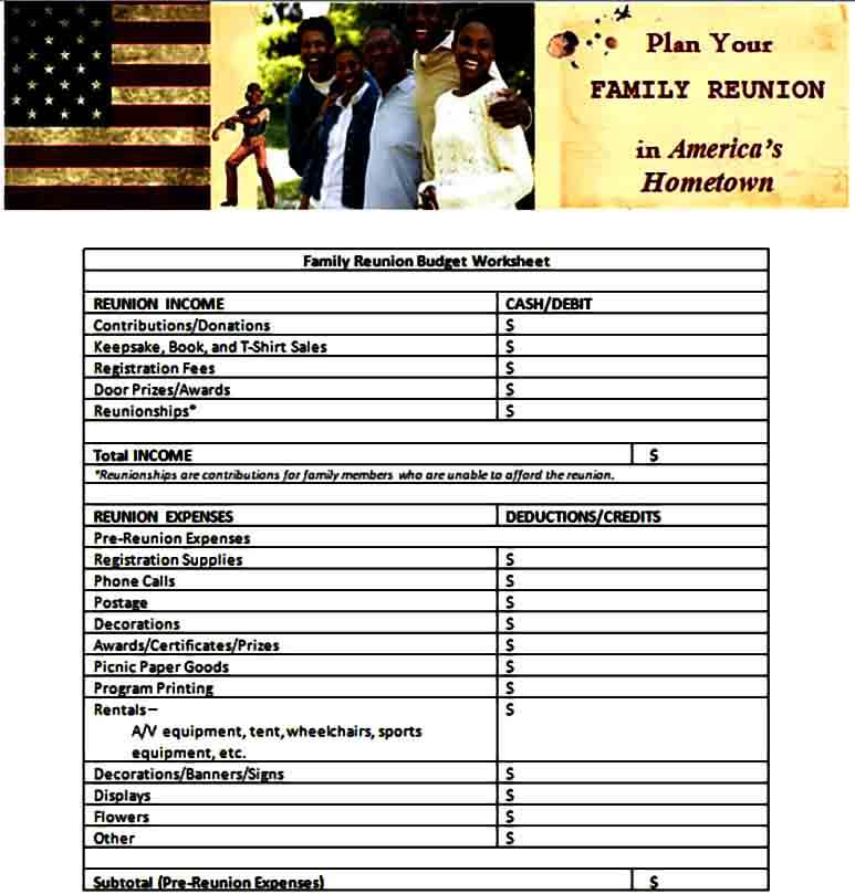 Family Reunion Budget Form