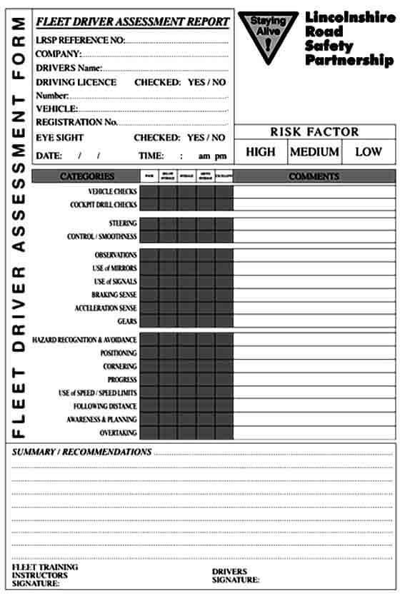 Fleet Driver Assessment Form