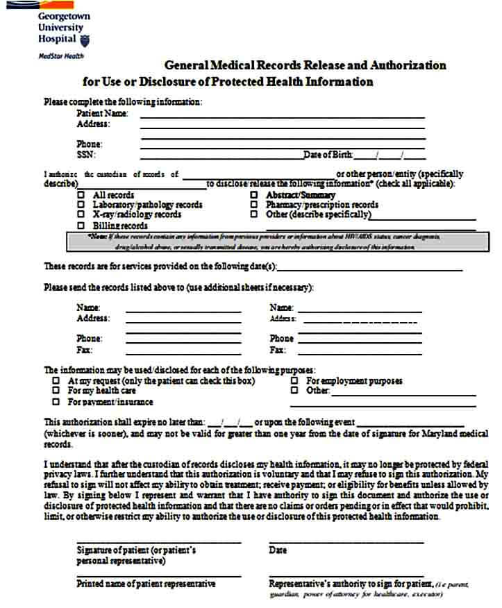 General Medical Records Release Form