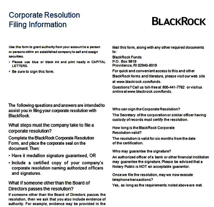 Generic Corporate Resolution Filling Form