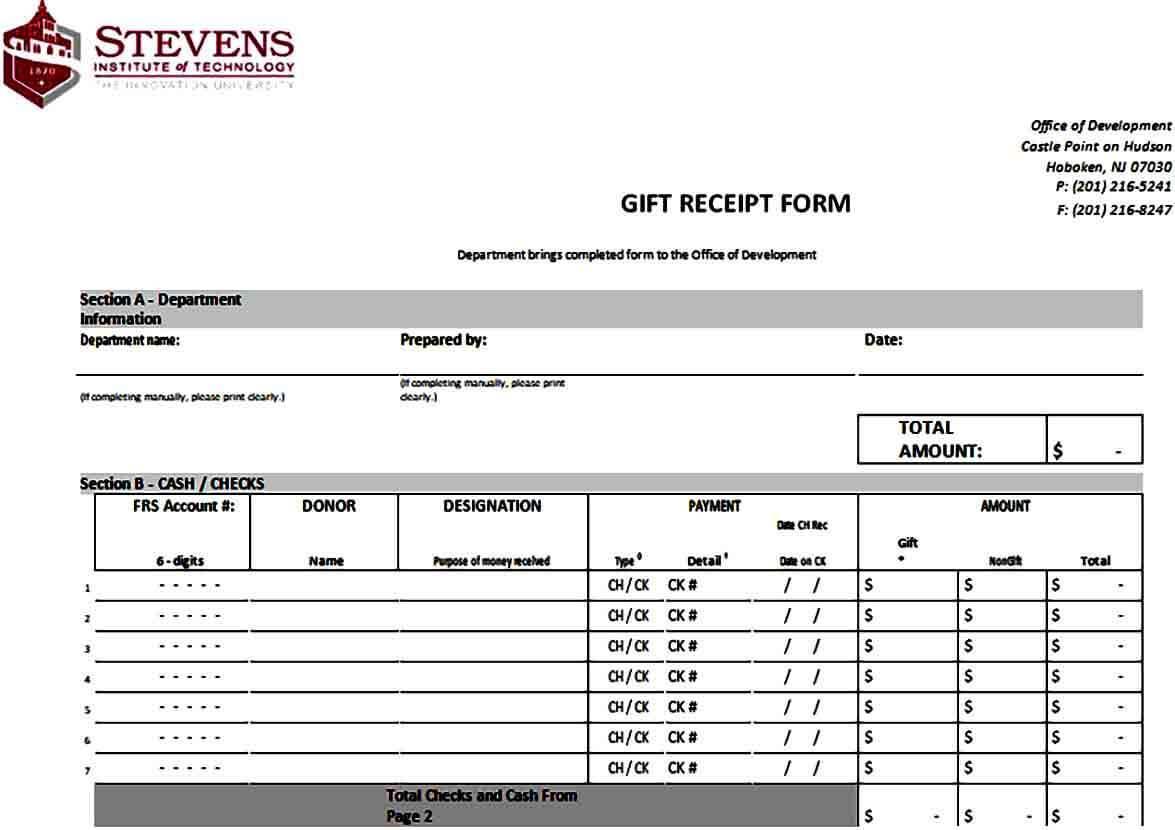 Gift Receipt Form