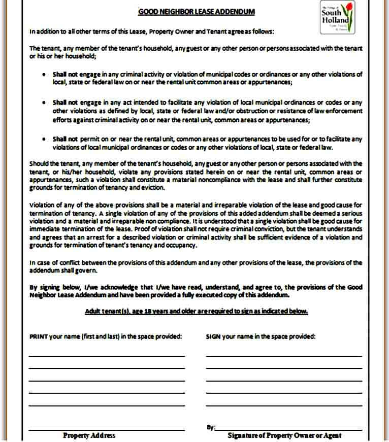 Good Neighbor Lease Addendum Form