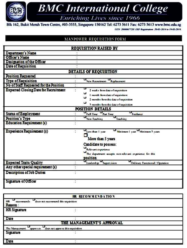 HR Manpower Requisition Form