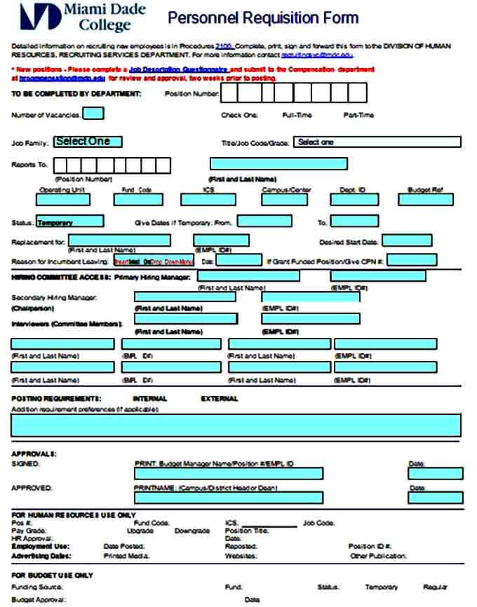 HR Personnel Requisition Form