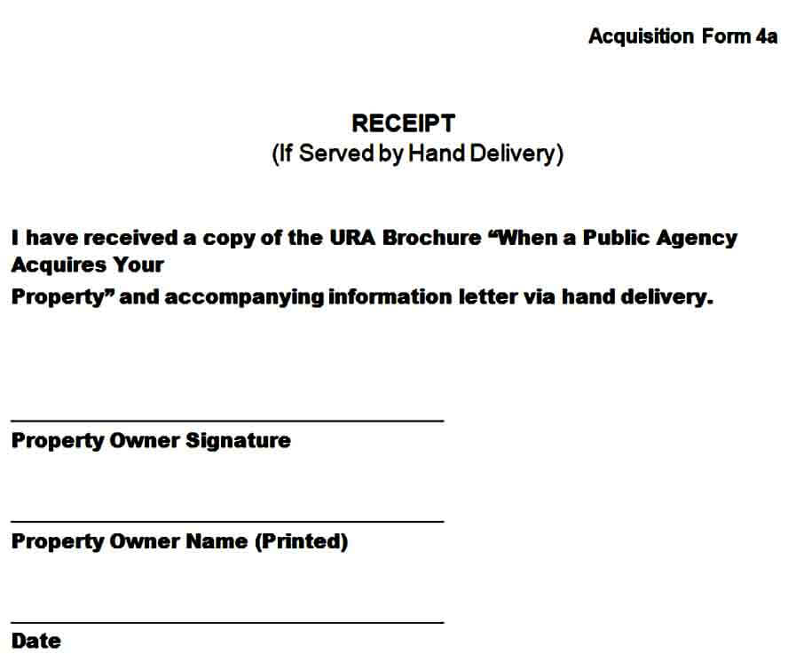 Hand Delivery Receipt Form