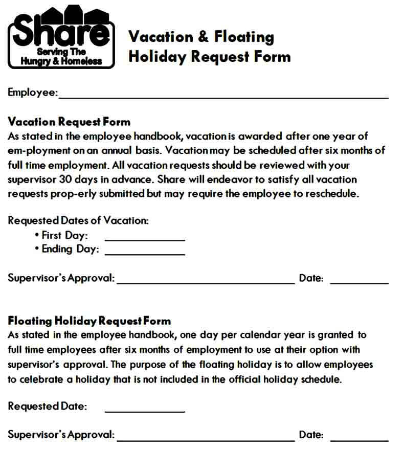 Holiday Vacation Request Form