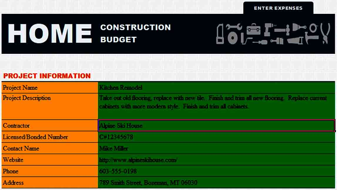 Home Construction Budget Form