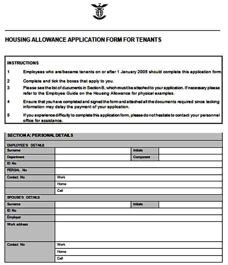 Housing Allowance Application Form for Tenants
