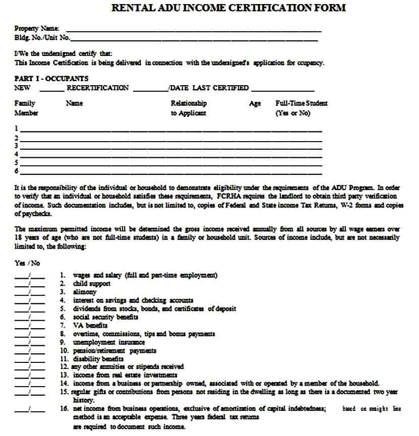 Income Verification Form for Rental