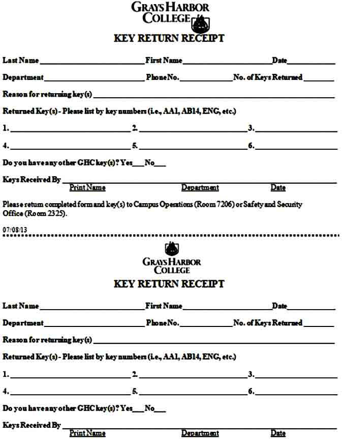 Key Return Receipt Form