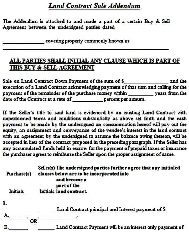 Land Contract Sale Addendum Form