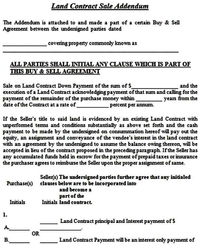 Land Contract Sale Addendum Form