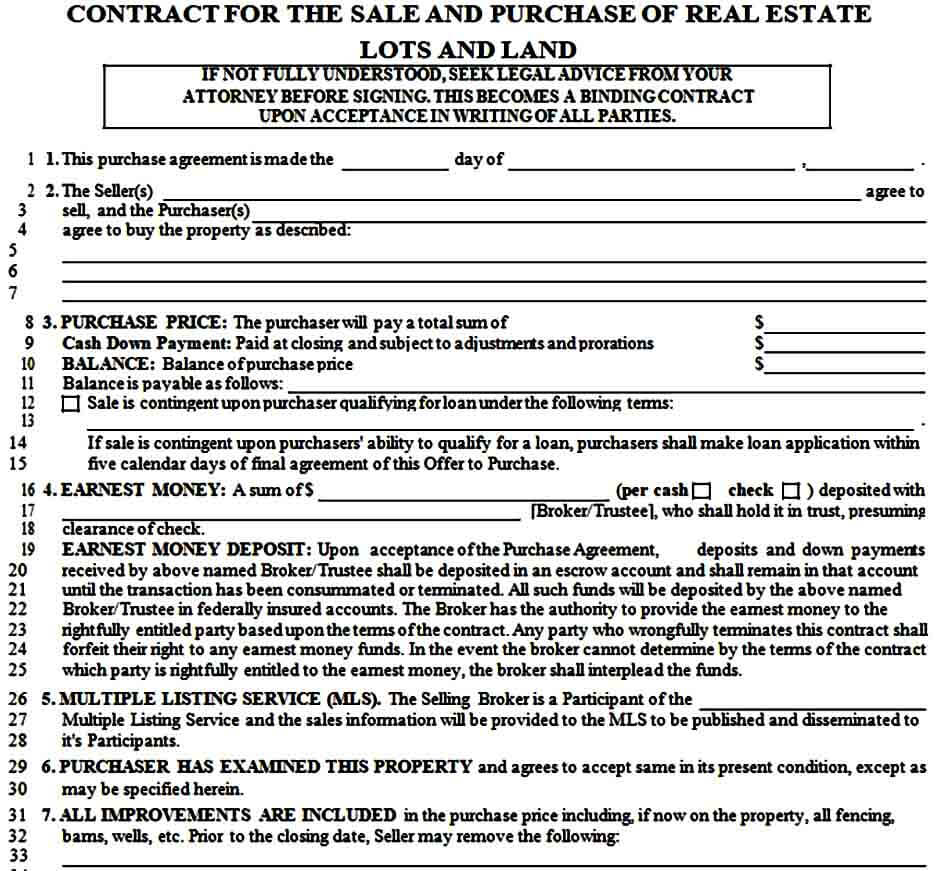 Land Purchase Contract Form
