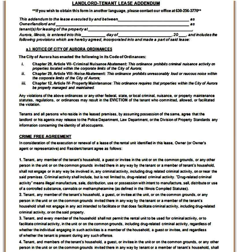 Landlord Lease Addendum Form