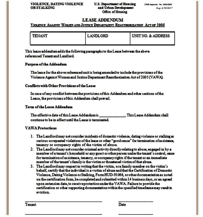 Lease Addendum Form Sample
