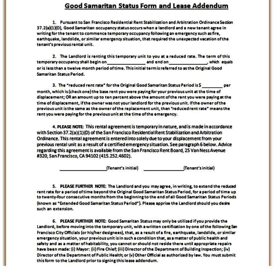 Lease Addendum Status Form templates