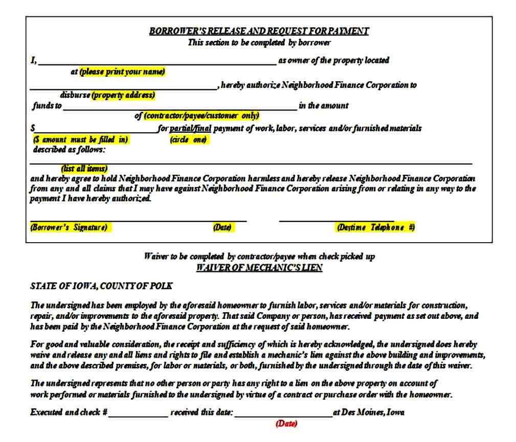 Lien Waiver Release Form