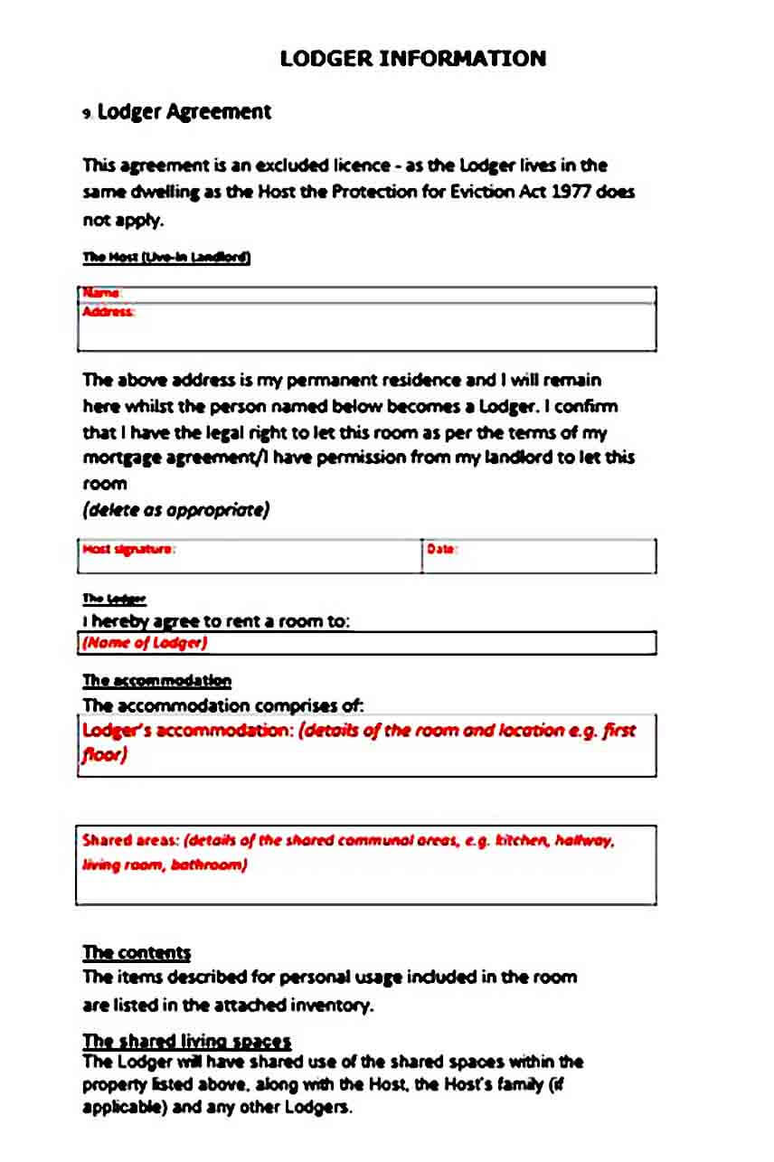 Lodger Agreement templates