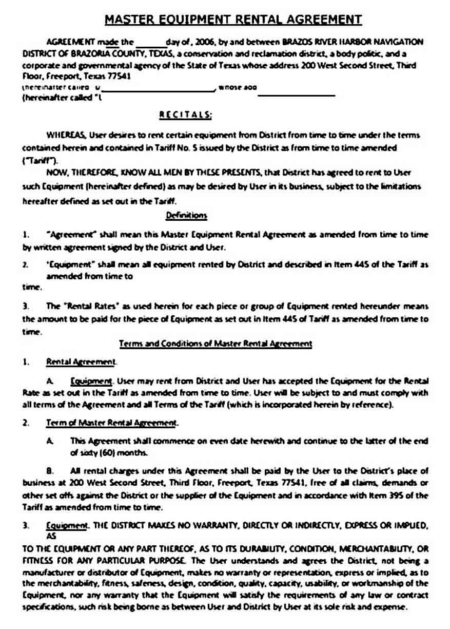 Master Equipment Rental Agreement Sample