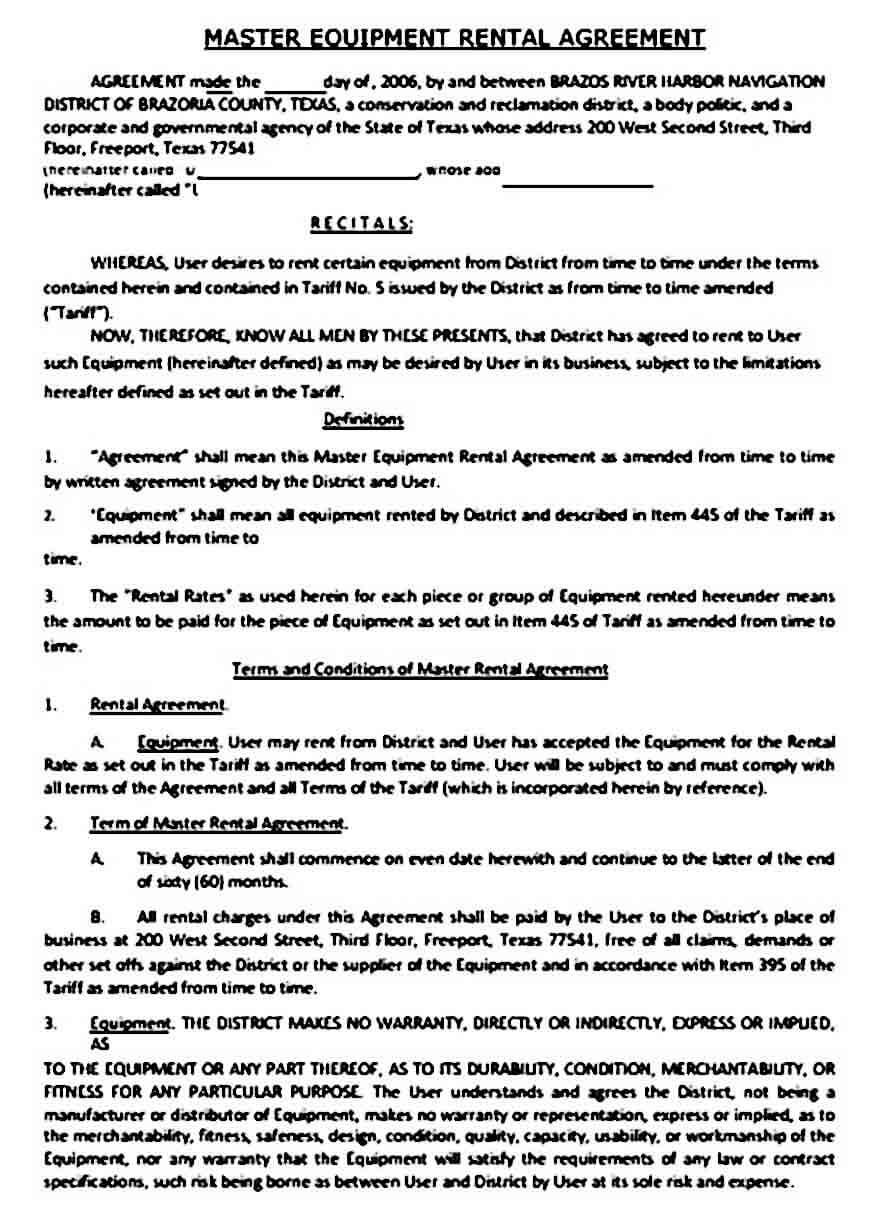Master Equipment Rental Agreement Sample