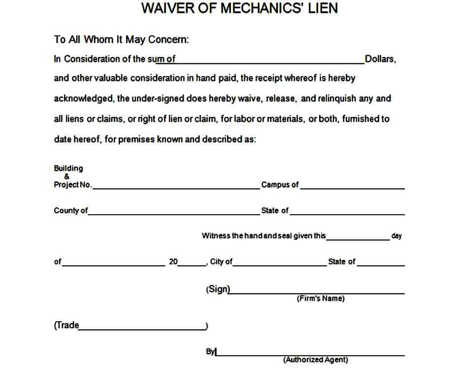 Mechanics Lien Waiver Form