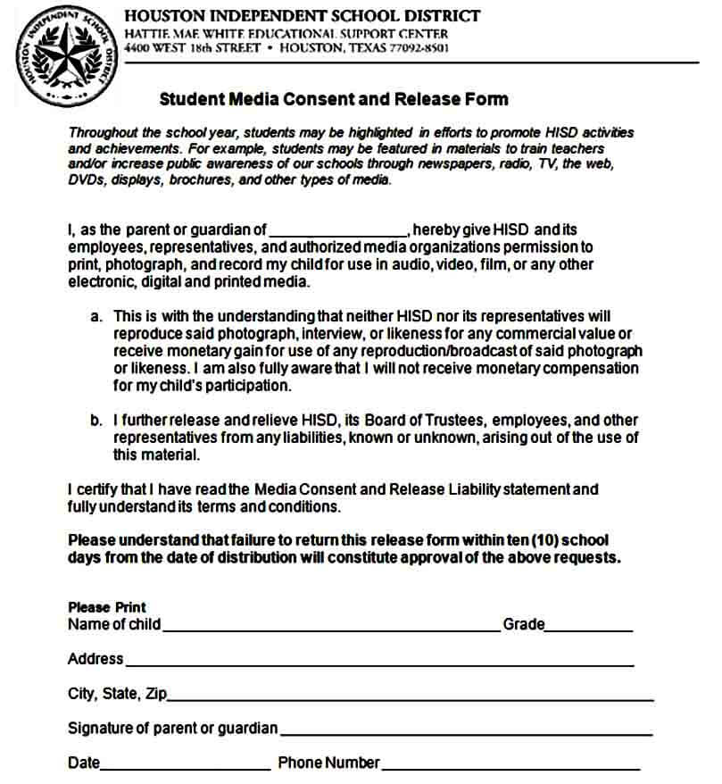 Media Consent Release Form