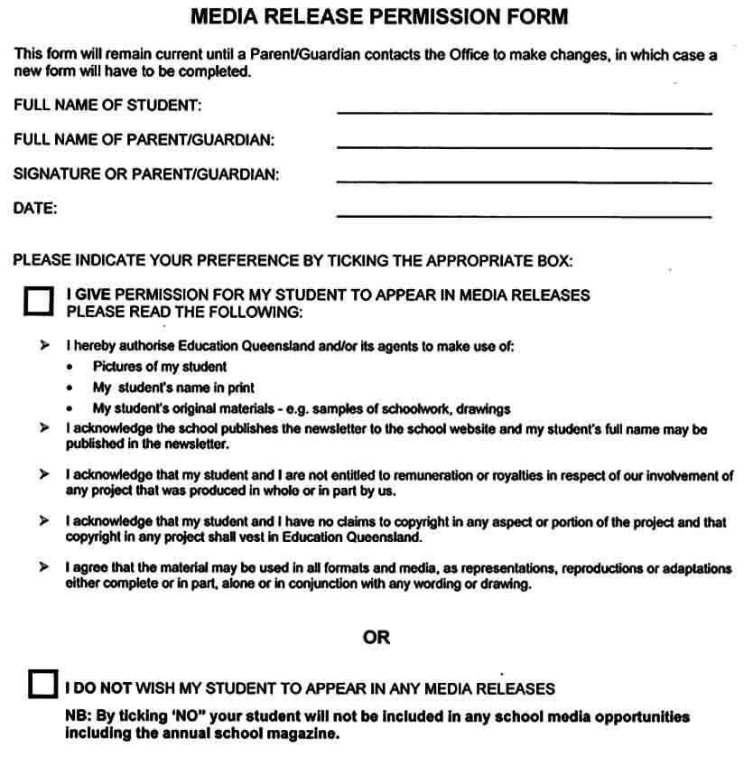 Media Release Permission Form
