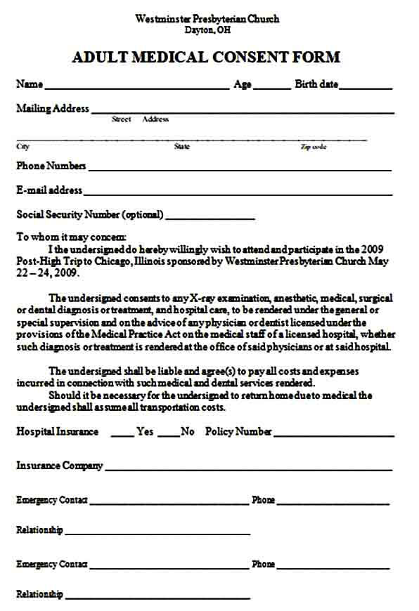 Medical Consent Form For Adult