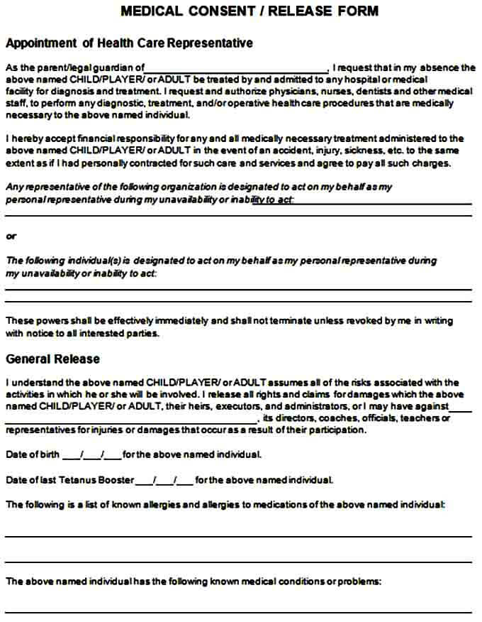 Medical Consent Release Form