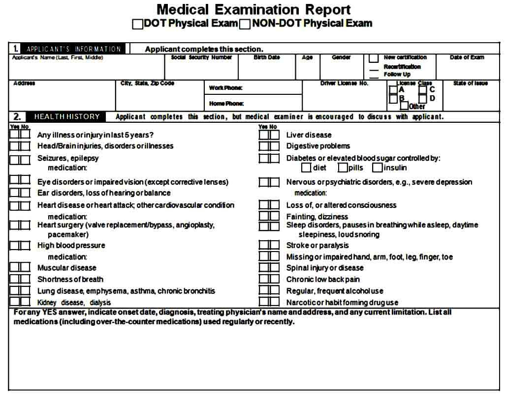 Medical Dot Physical Exam