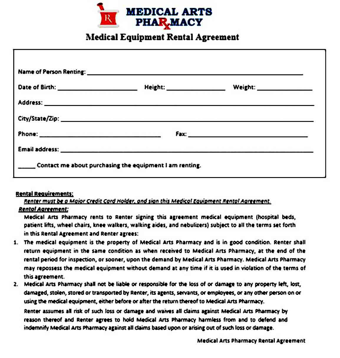 Medical Equipment Rental Agreement Example