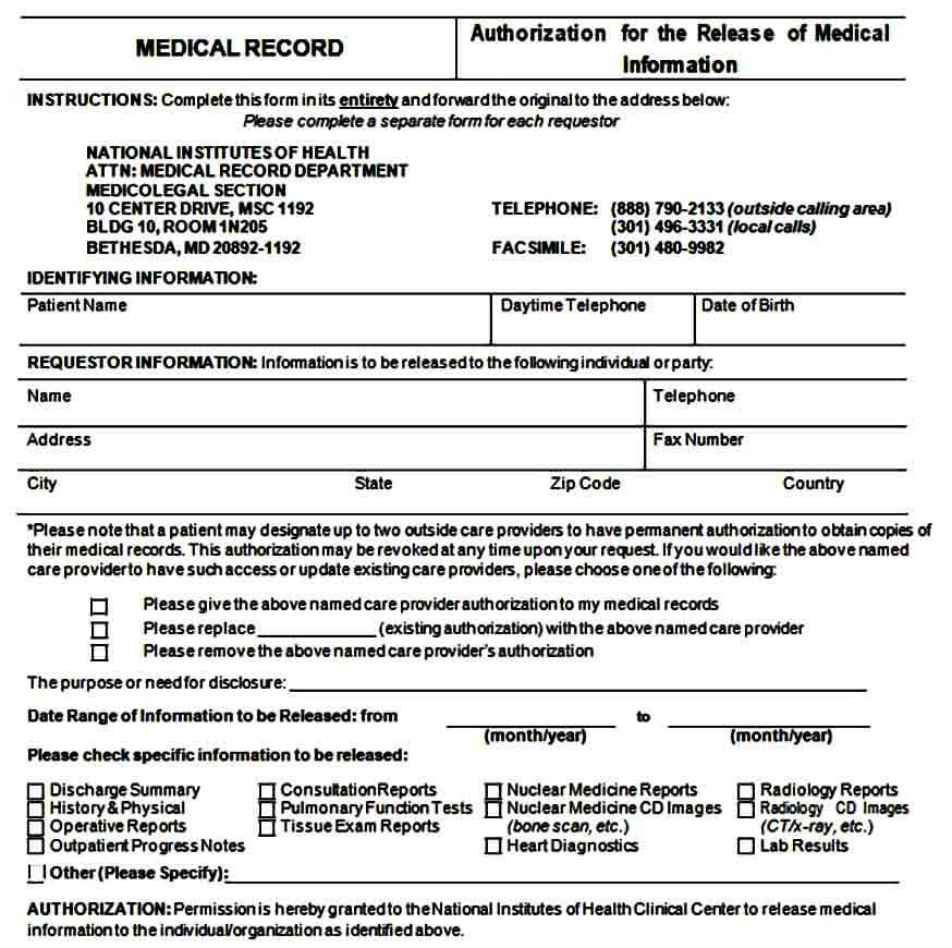 Medical Records Release Form