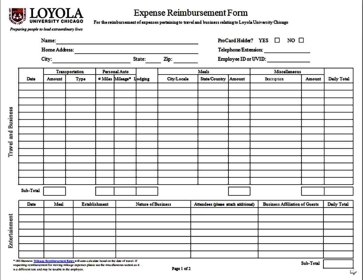 Mileage Expense Reimbursement Form