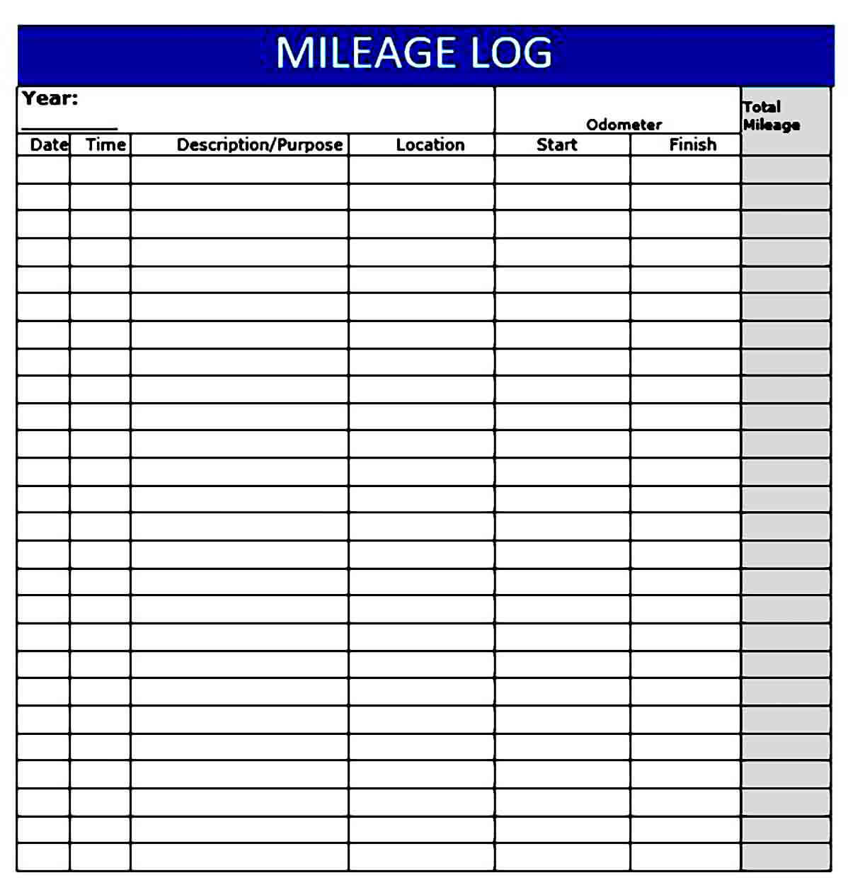 Mileage Log templates