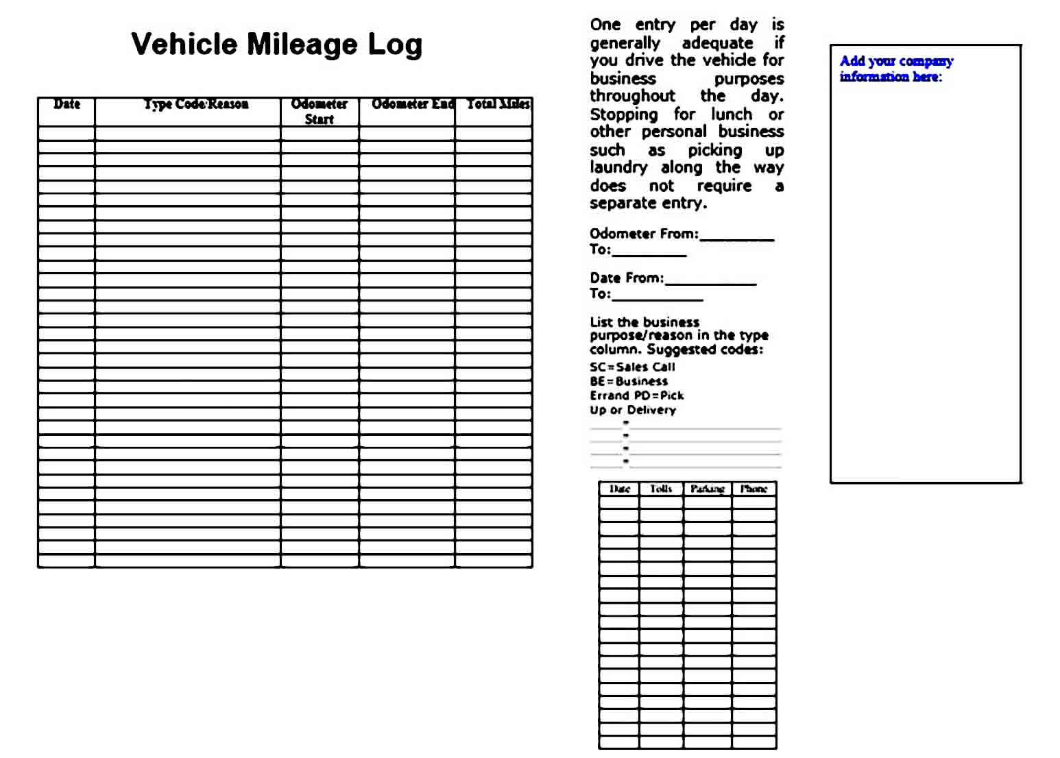 Mileage Log templates s