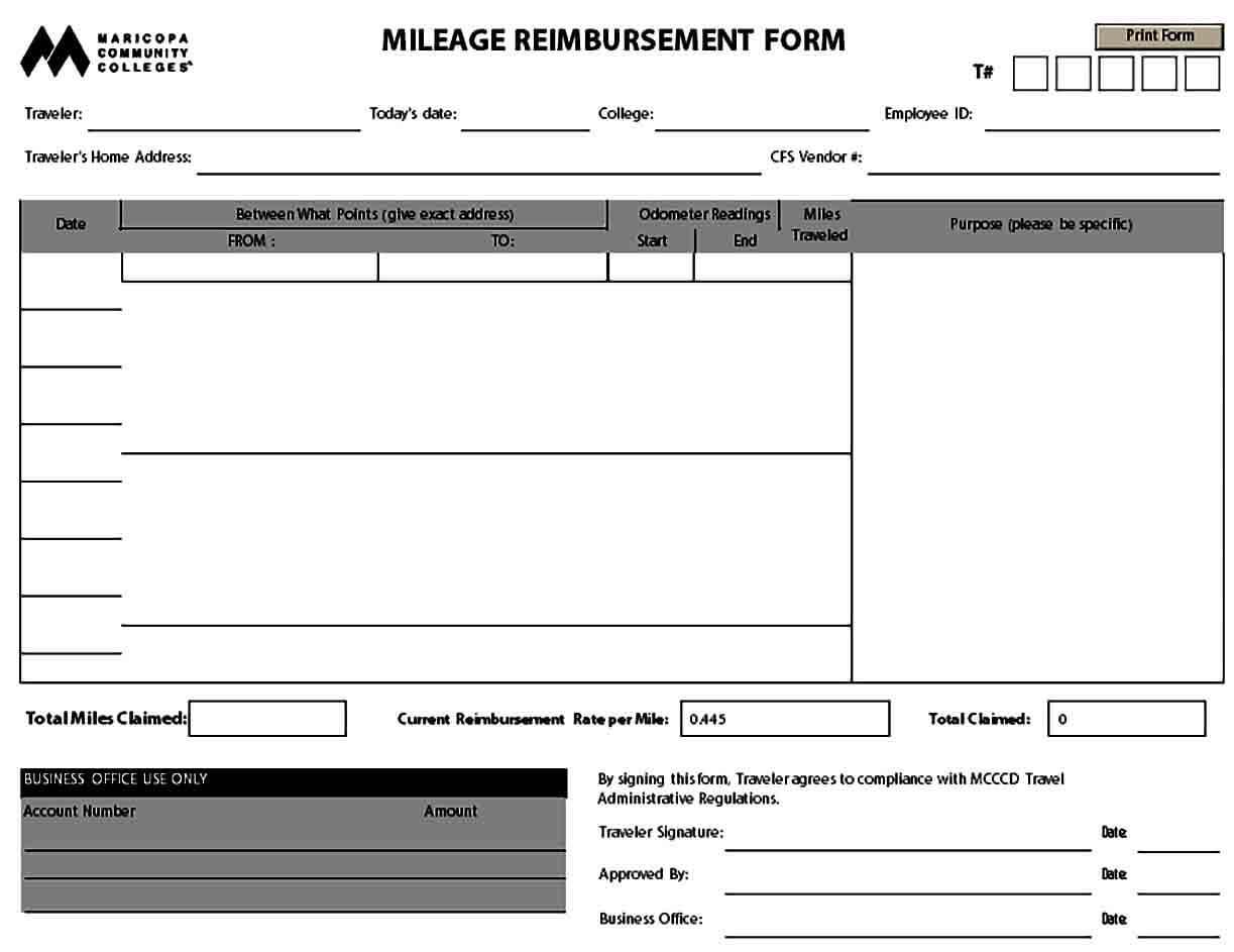 Mileage Reimbursement Form