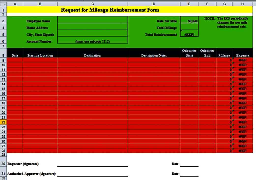Mileage Reimbursement Request Form in EXCEL