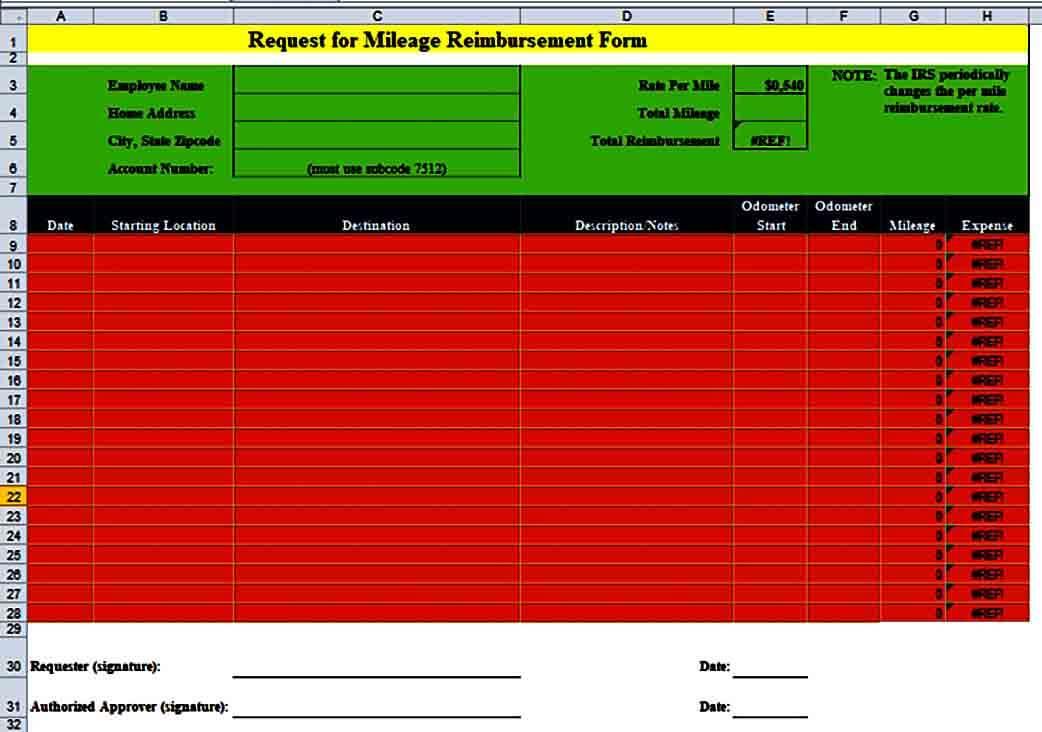 Mileage Reimbursement Request Form in EXCEL
