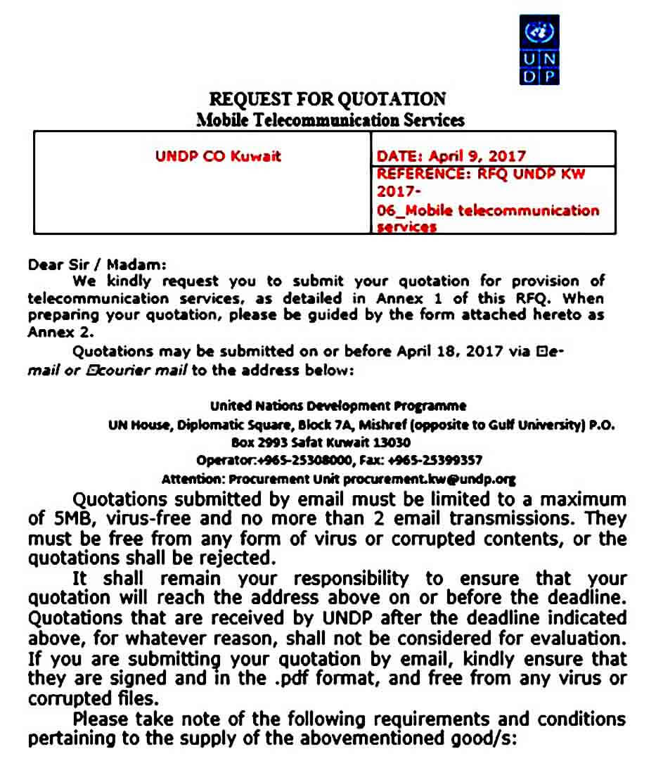 Mobile Telecommunication Service Quotation